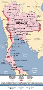 Mapa de riesgo de malaria en Tailandia
