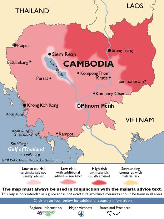 Mapa de riesgo de malaria en Camboya para saber qué visitar en tu viaje