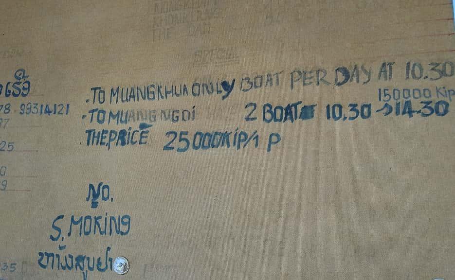 Cómo llegar a Muang Ngoi en barco. Información del embarcadero de Nong Khiaw con precios y horarios